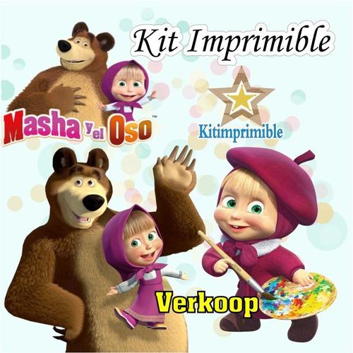 new° kit imprimible masha y el oso candy bar etiquetas cajas