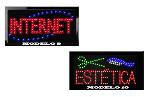 new letrero 48 x 25cm abierto de hyper leds ecologico cadena