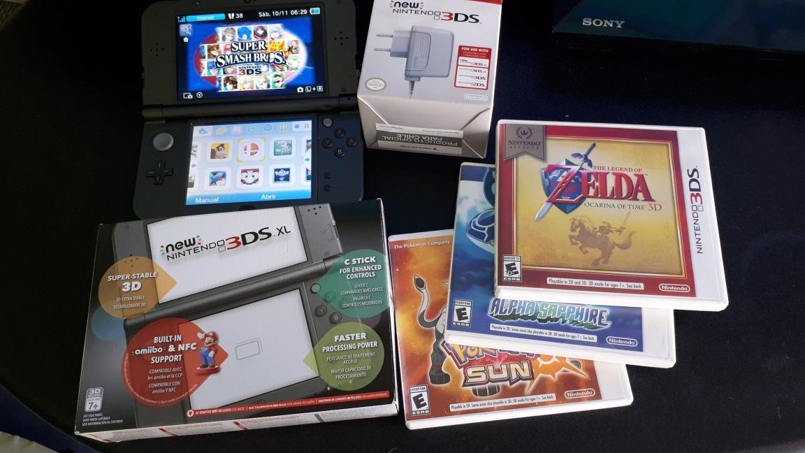 New Nintendo 3ds Xl Usada Juegos Cargador Sd 16gb 160 000 En