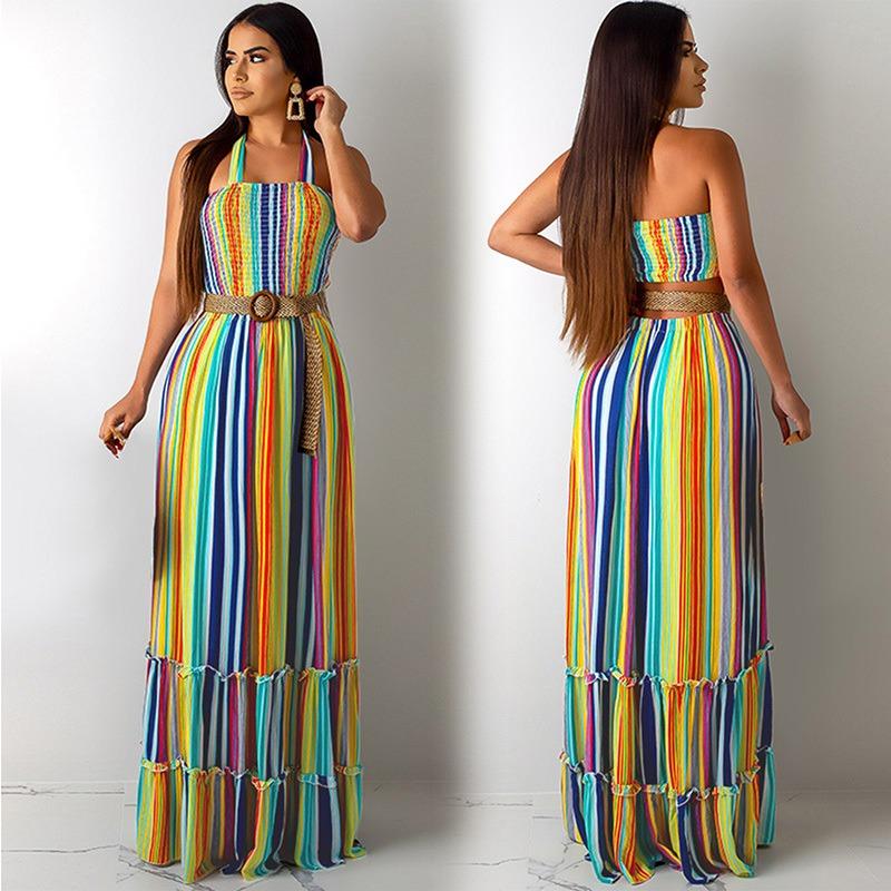 New Sexy Mulheres Maxi Vestido Listras Coloridas Halter Pesc