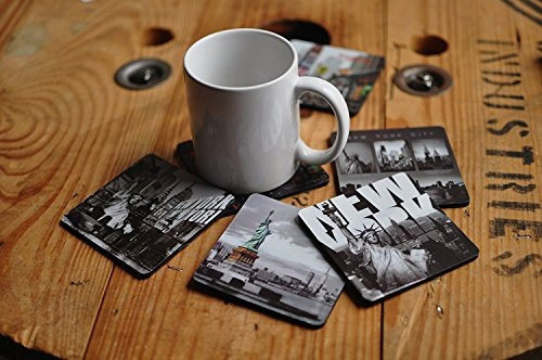 new york  ny nyc b y w photo beer and drink coaster pack of