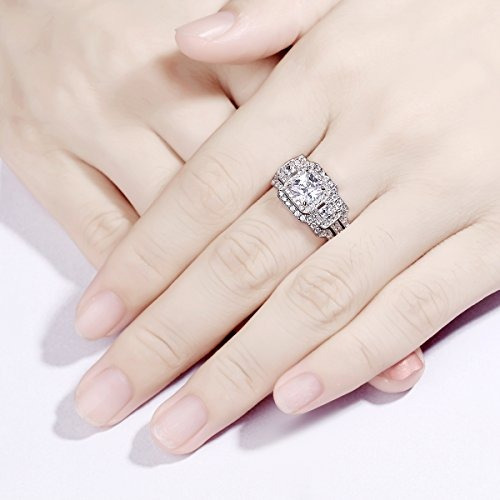 newshe 3 unids princesa blanca cz 925 anillo de bodas de