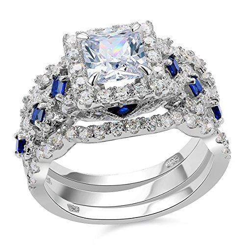 newshe 3pcs 2.5ct princesa blanca cz azul 925 anillo de com