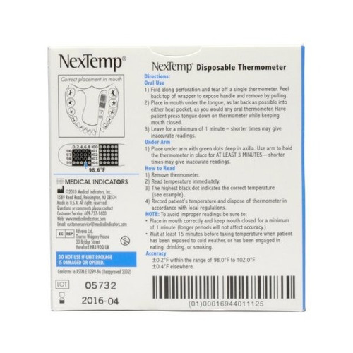 nextemp desechable termómetro 100 / caja