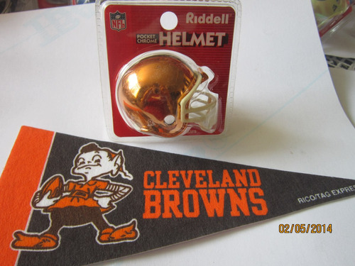 nfl cleveland browns casco cromado riddell y mini banderin