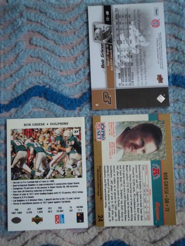 nfl dolphins fan_qb_3 tarjetas nuevas_ bob griese