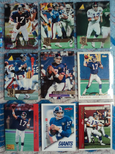 nfl fan giants 9tarjetas dave brown no repetidas