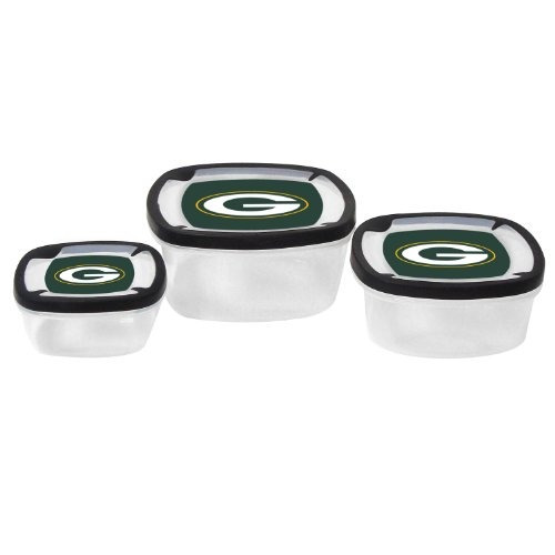 nfl green bay packers nesting square containers, 7.2-cup; 3.