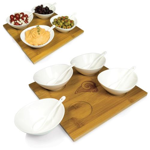 nfl homegating quad condimento / dip servir set, marrón, 14
