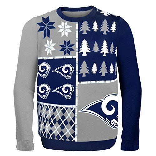 nfl los angeles rams busy block ugly sweater, medio, azul