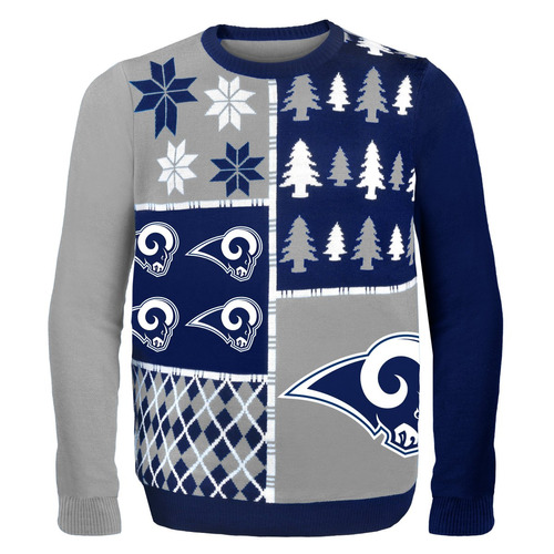 nfl los angeles rams busy block ugly sweater, x-large, azul