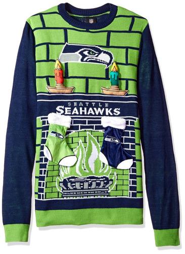 nfl seattle seahawks ugly 3d sweater, grande