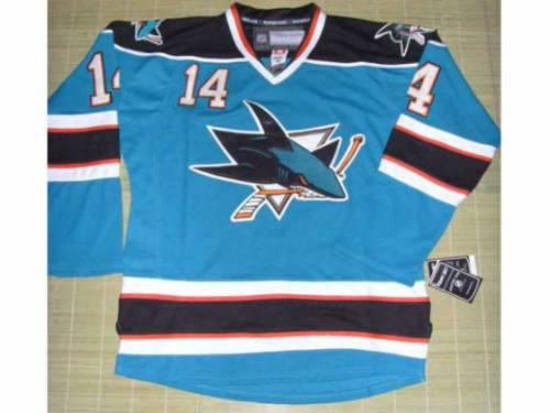 nhl hockey jersey profesional de los tiburones sj reebok nvd