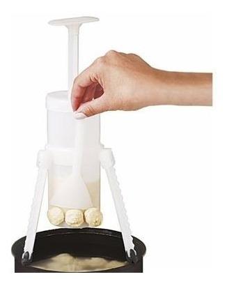 nhoqueira plástica manual faz nhoque com tripé e espátula.