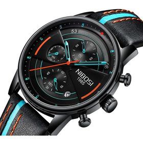 Nibosi Original Reloj Hombre Negro Lujo Cronógrafo 2389