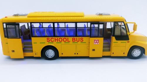 ônibus 1/32 brinquedo de metal escolar com luz som grande