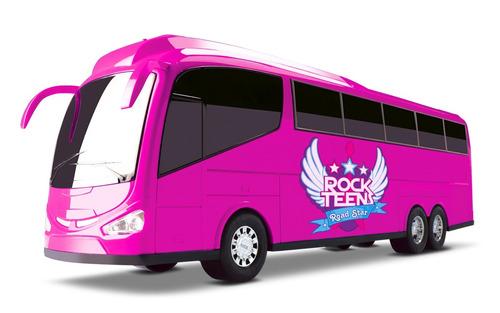 ônibus roma bus rook teens - rosa - 48cm - roma brinquedos