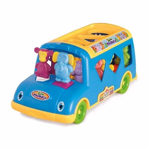 ônibus zoo maluco com 11 animaizinhos calesita
