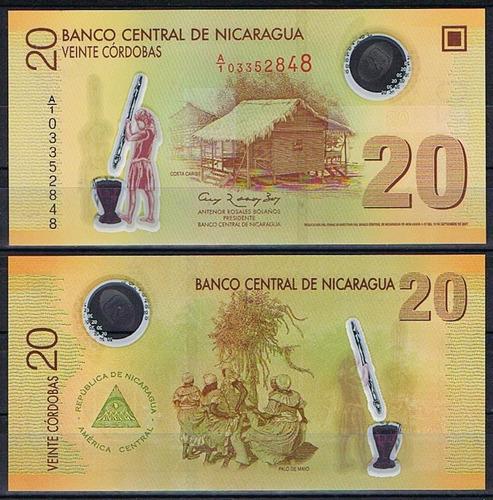 nicaragua 20 córdobas 2007 p. 202a fe céd polímero tchequito
