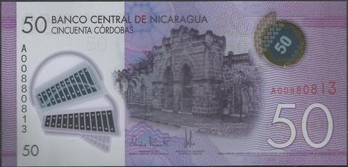 nicaragua 50 cordobas 28 mar 2014 p211 plastico