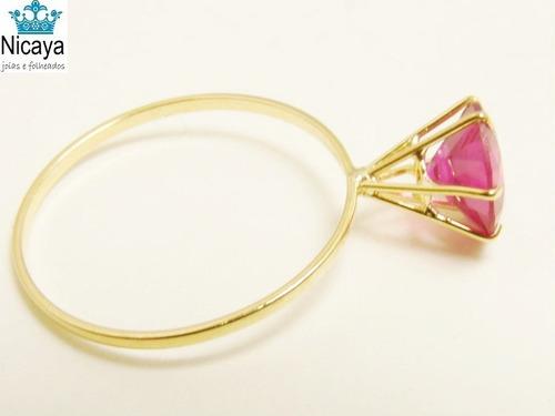 nicaya anel calice 6mm solitário ouro 18k-750