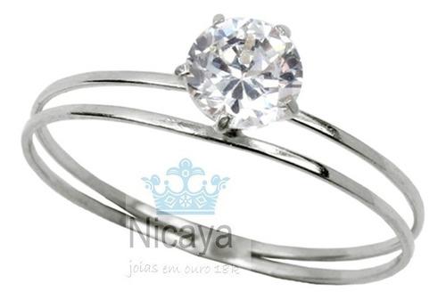 nicaya anel cálice solitário ouro branco18k 6mm frete gratis