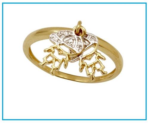 nicaya anel pingente menino menina em ouro 18k-750