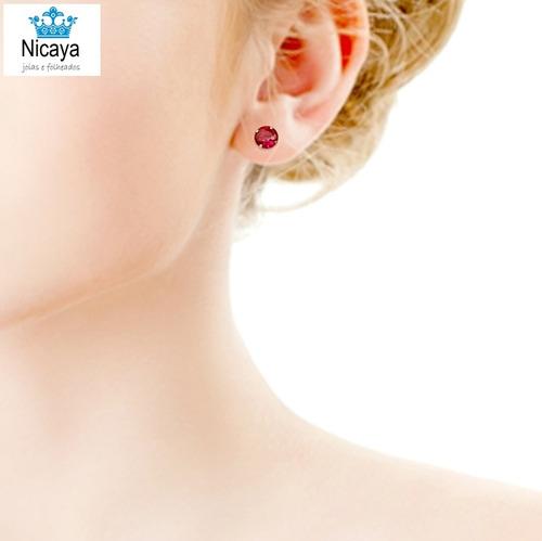 nicaya brinco ponto de luz + anel solitário 6mm + frete!