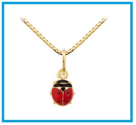 nicaya colar infantil pingente joaninha ouro 18k-750