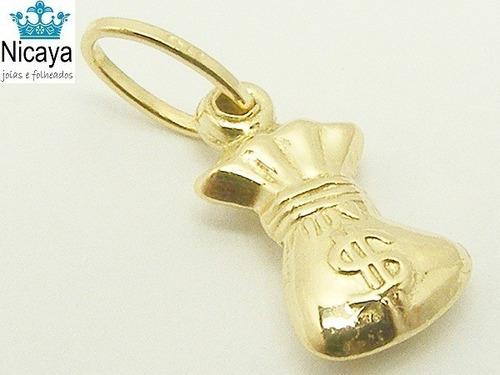 nicaya pingente saquinho de dinheiro ouro 18k