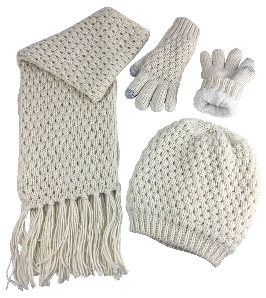 N\'ice Caps Women\'s Beanie Scarf Gloves 3pc Juego Sherpa L - S/ 274 ...