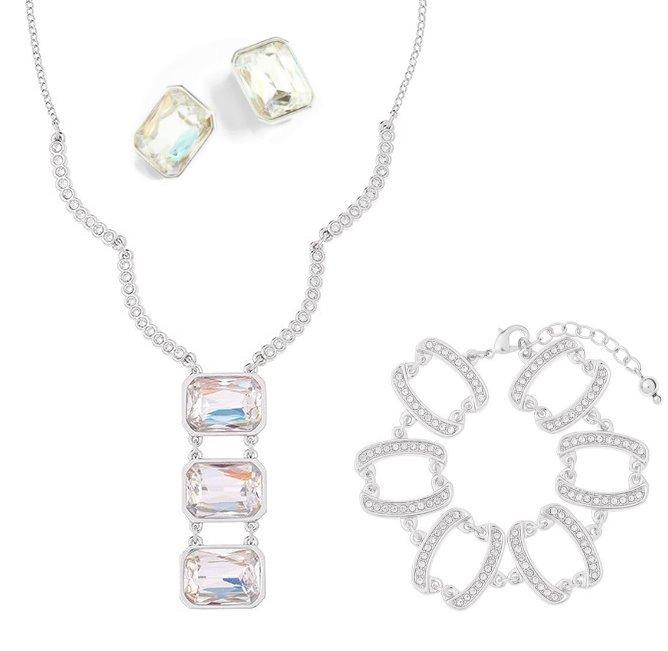 984d0e82ba25 Nice Collar 3 Cristales+pulsera+aretes Baño Rodio Con Envio ...