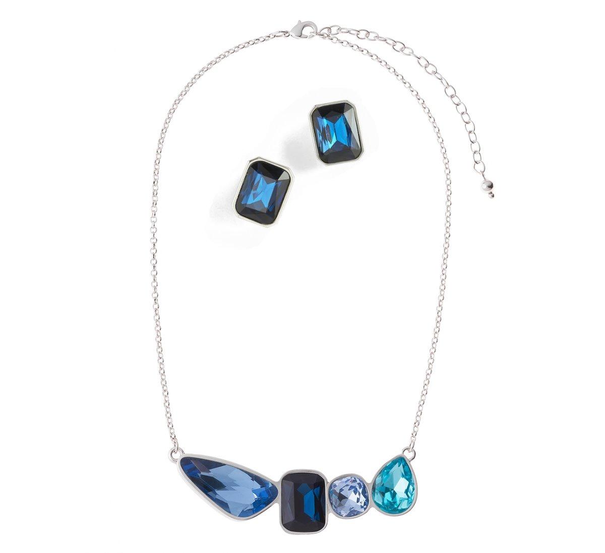 fb3f5e48e89f nice collar+aretes cristales azules baño rodio envio gratis. Cargando zoom.
