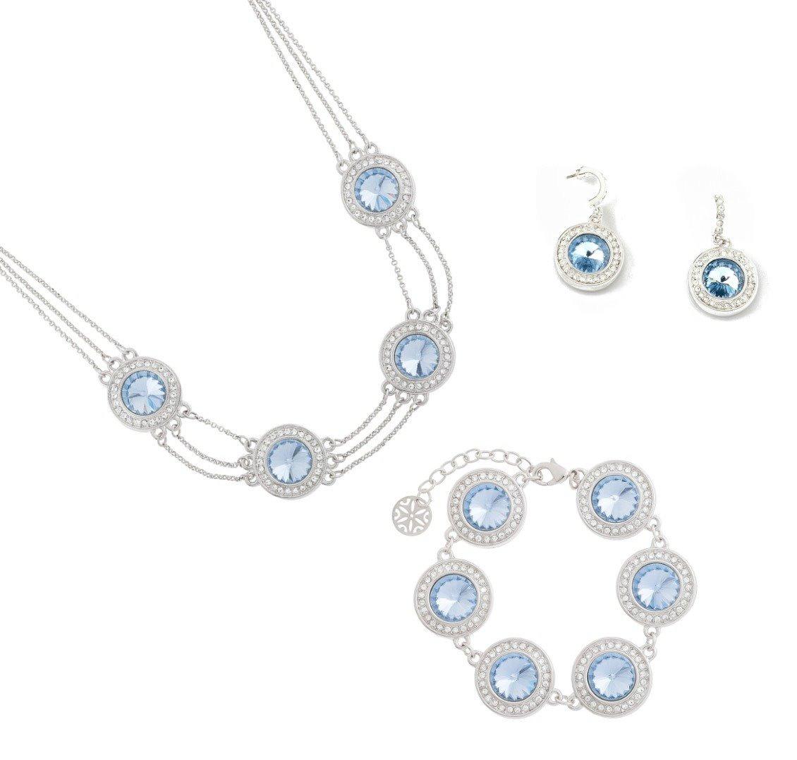 27bb2f03b318 Nice Collar Cristal Azul+pulsera+aretes Baño Rodio Con Envio ...