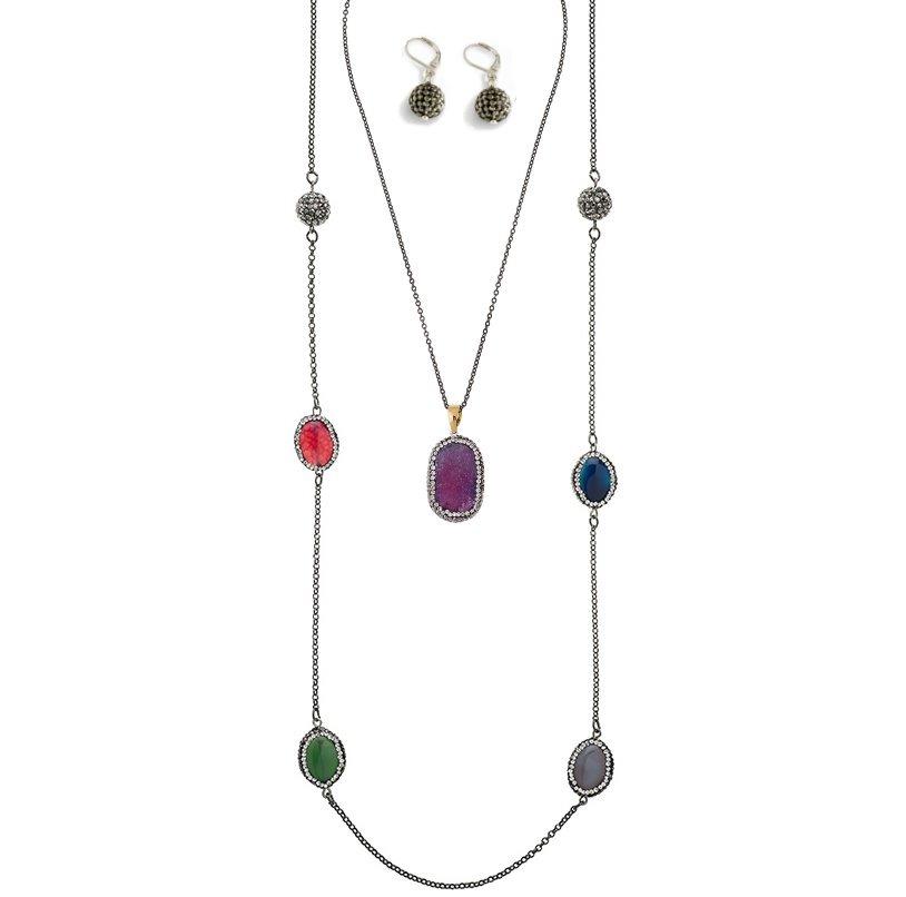02a501ad300d nice collar largo piedras+collar corto +aretes envio gratis! Cargando zoom.