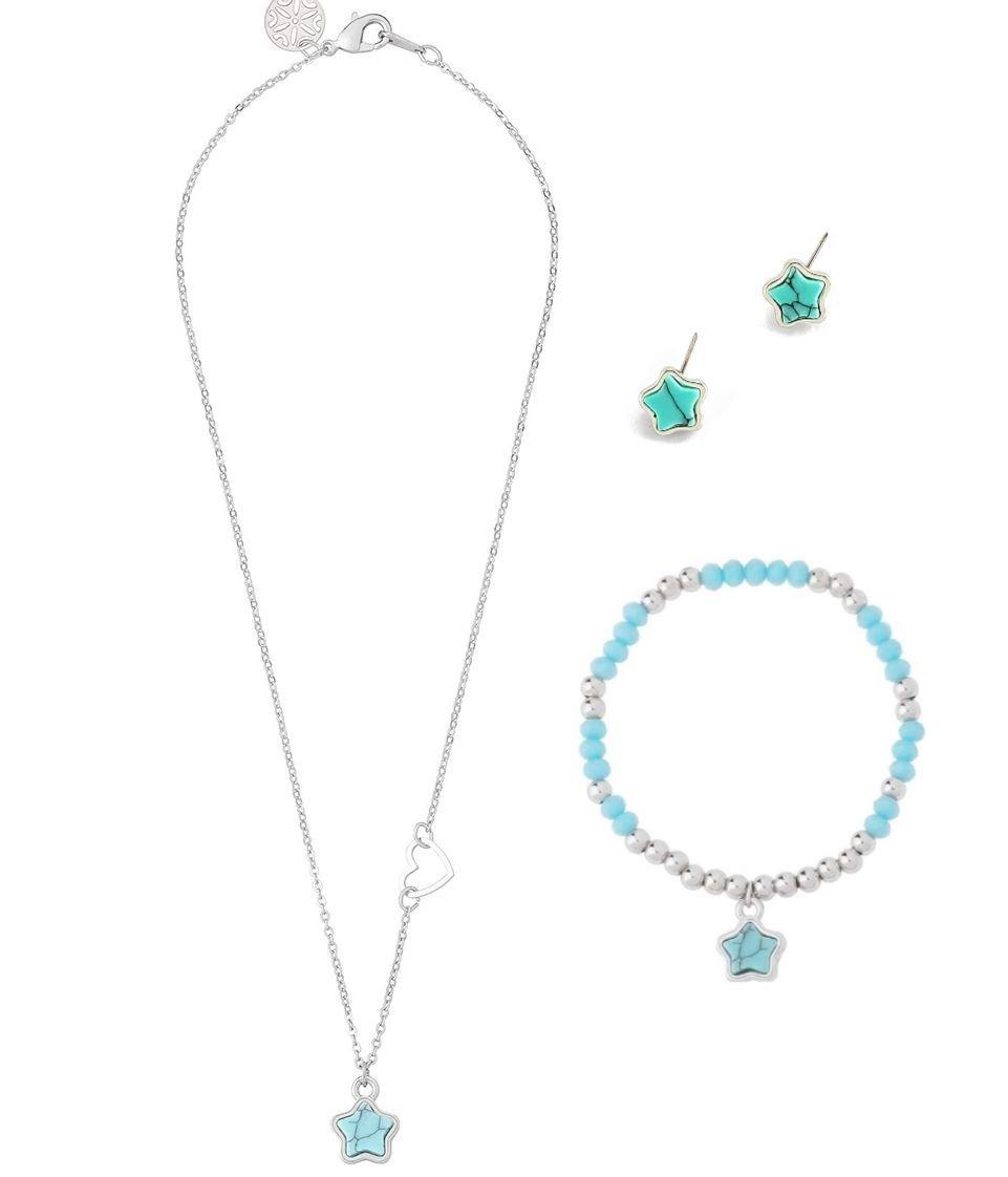 13e43c8e10c2 Nice Collar Niña Estrella+aretes+pulsera Baño Rodio C envio ...