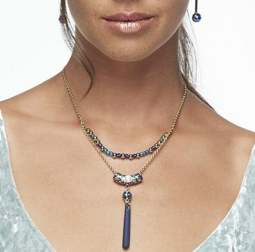 nice collar tonos azules+aretes zafiro baño oro18k con envio
