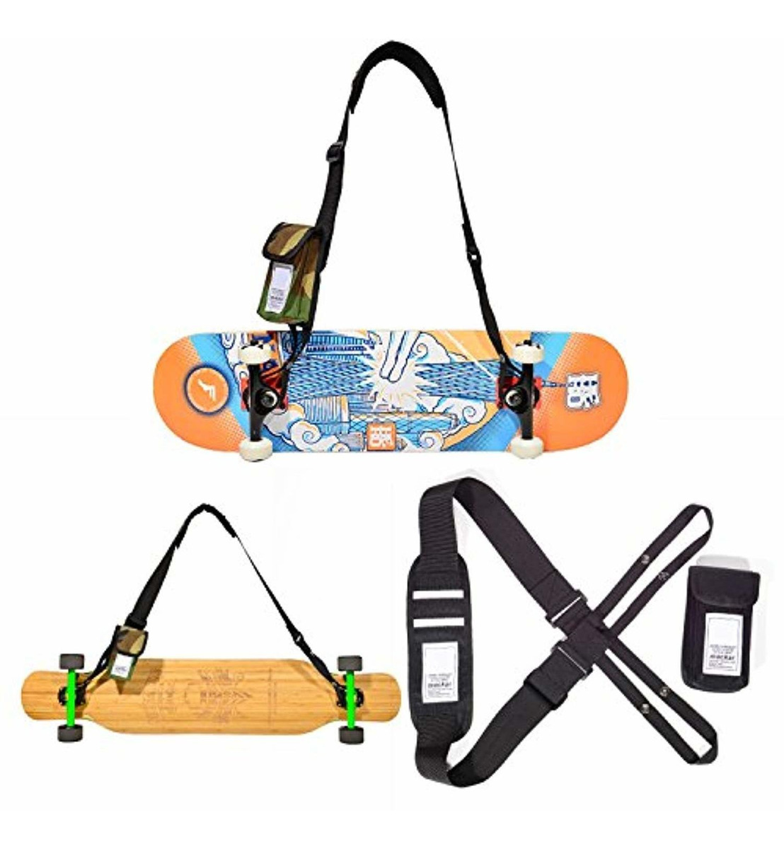 Fit All Boards! Nice Pies Universal Skateboard Shoulder Carrier Skateboard Shoulder Strap Skateboard Carry Strap with Portable Multi-Function Bag