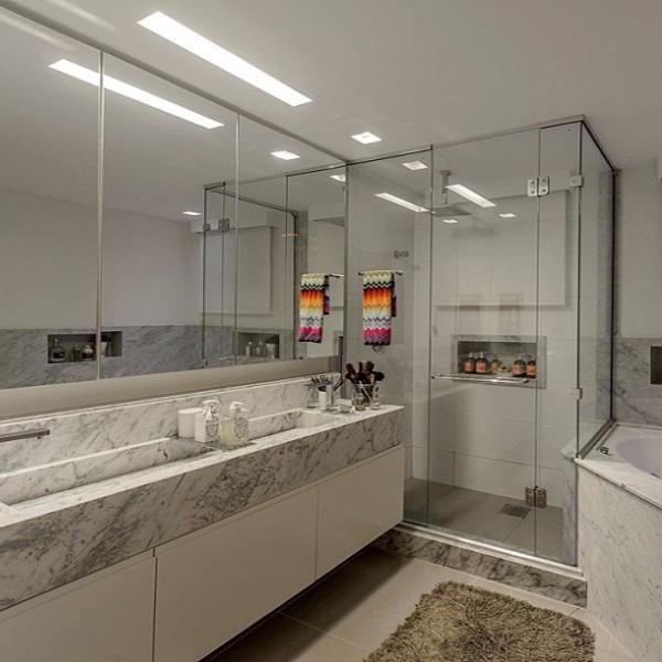 Nicho Banheiro Brasilia : Nicho banheiro m?rmore branco c fundo borda r