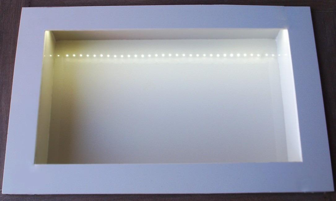 Nicho Iluminado Com Leds  Em Porcelanato Para Banheiro  R$ 260,00 em Mercad -> Nicho Banheiro Iluminado