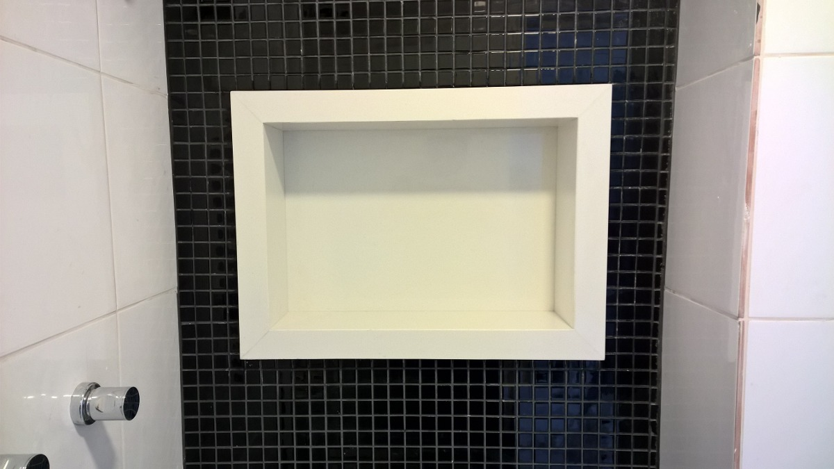 Nicho Para Banheiro Em Quartzo, Mármore Ou Granito  R$ 490,00 em Mercado Livre -> Nicho Para Banheiro Em Acrilico