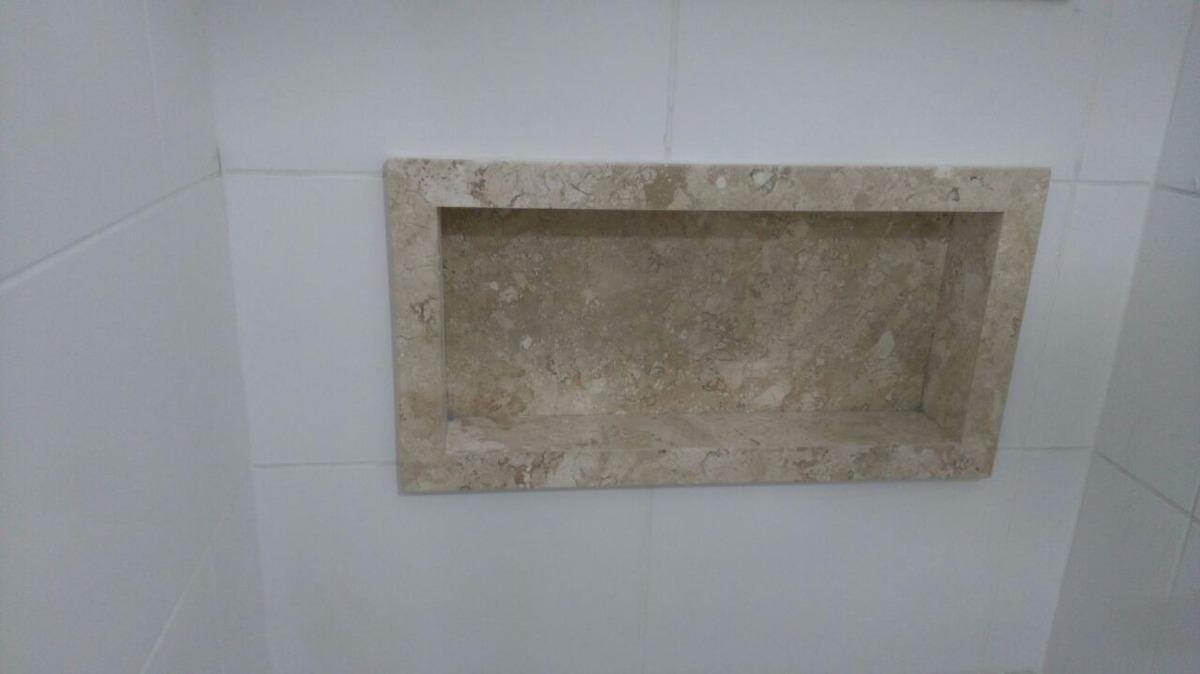 Nicho Para Banheiro Em Quartzo, Mármore Ou Granito  R$ 490,00 em Mercado Livre -> Nicho De Banheiro Em Granito
