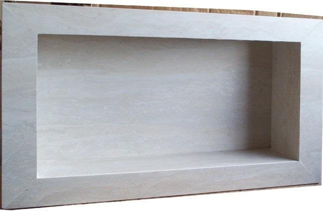 Nicho Para Banheiro Porcelanato Travertino Branco  Promoção  R$ 149,00 em M -> Nicho Box Banheiro Medidas