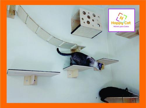 nicho para gatos + ponte + prateleira kit 4 pçs--