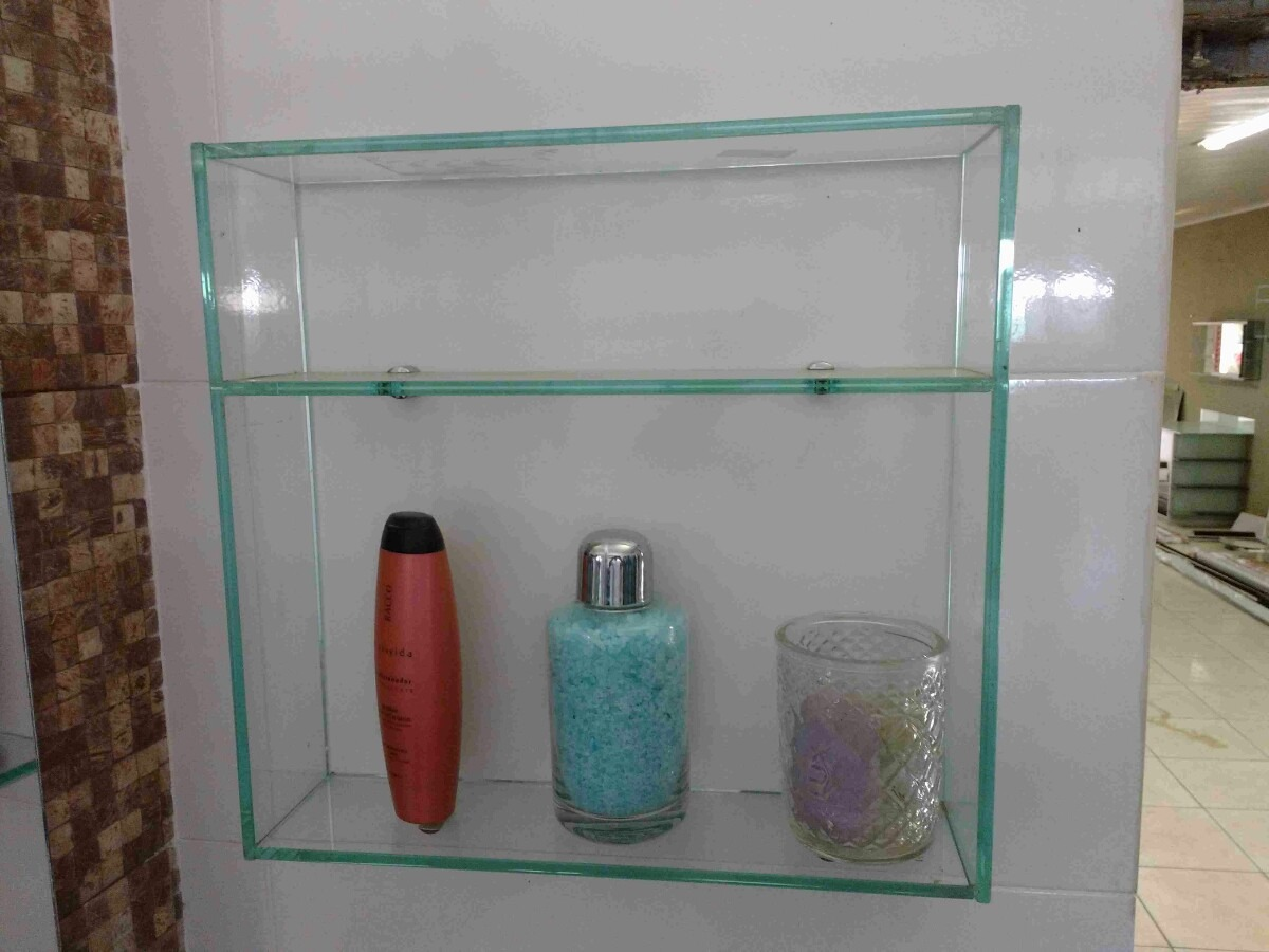 Nicho Prateleira De Vidro P Banheiro 41 X 50 X 10  R$ 90,00 em Mercado Livre # Nicho Banheiro Mercadolivre