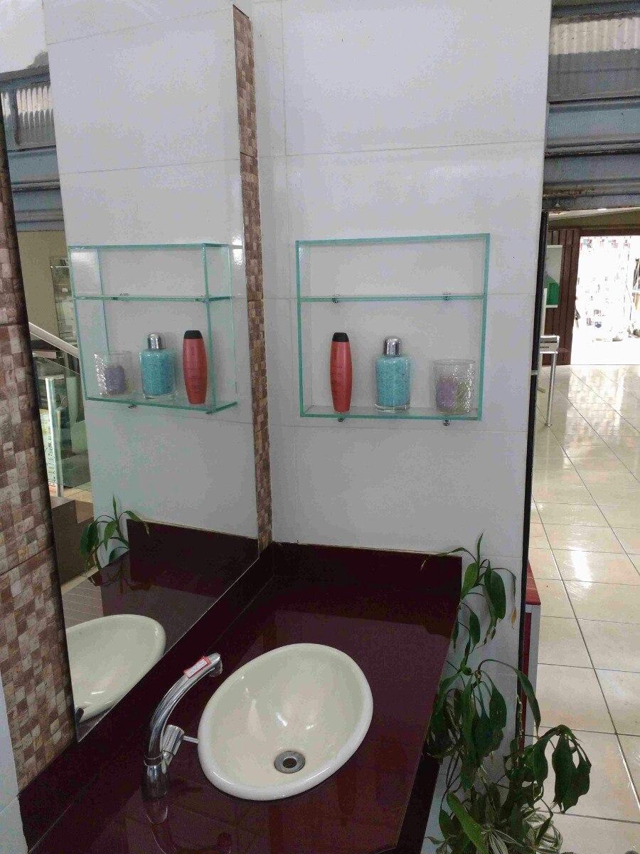 Nicho Prateleira De Vidro P Banheiro 41 X 50 X 10  R$ 80,00 em Mercado Livre -> Nicho Banheiro Prateleira Vidro