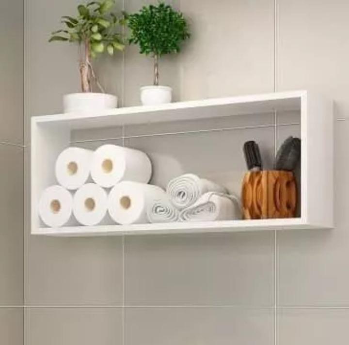 Nicho Prateleira Para Banheiro 50cm Mdf Branco Tx Barato