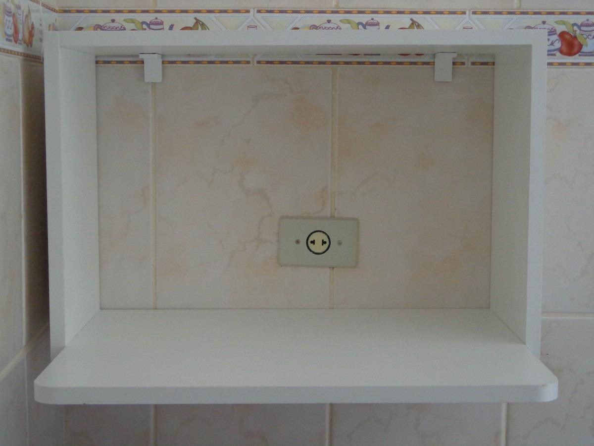 Nicho suporte para microondas 60 x 40 x 45 madeira branco for Porte 60 x 40