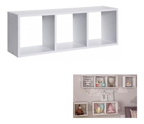 nicho triplo prateleira quadrado branco 80x28x20cm madeira mdp parede pratk