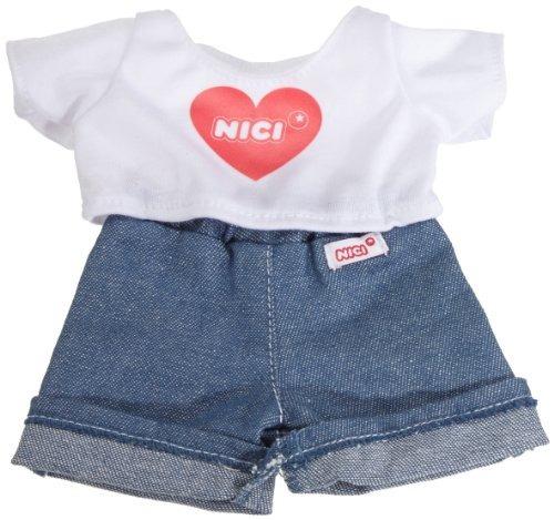nici -playera y jeans para borrego blanca  de 25 cm